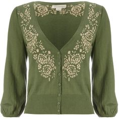 Monsoon Francesca Floral Cardigan (50 CAD) ❤ liked on Polyvore featuring tops, cardigans, sweaters, outerwear, jackets, women, floral print cardigan, flower print cardigan, floral cardigan and green cardigan