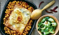 Moroccan chickpea stew with fried egg brik and cucumber salad