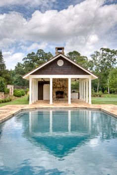 POOL HOUSE – Start collecting design ideas for the future pool house. This one can work. From Pre-Fab to Farmhouse - farmhouse - pool - atlanta - Historical Concepts