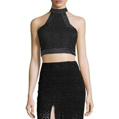 Alexis Janek Lace High-Neck Crop Top ($305) ❤ liked on Polyvore featuring tops, black, floral lace top, racer back crop top, lace sleeveless top, high neck sleeveless top and high neck lace top