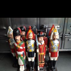 Old handpainted wooden skittle soldiers. Great for a boys room or just to decorate your home. H x 17 inches.