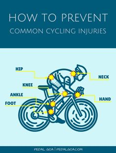 Common cycling injuries and how to prevent them. The good news is that most of the common cycling injuries are preventable. Causes and injury prevention tips for biking. Foot, ankle, knee, hip, neck, hand.