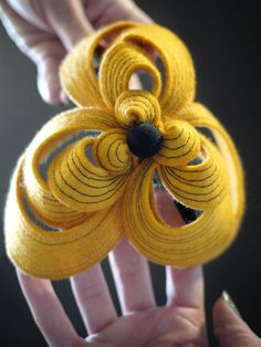 Bright Yellow Felt Headband Helix Series by pookaqueen on Etsy