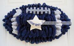 Items similar to Dallas Cowboys Deco Mesh Football Shaped Wreath (New Item) on Etsy Mesh Ribbon Wreaths, Deco Mesh Wreaths, Holiday Wreaths, Fabric Wreath, Burlap Wreaths, Deco Mesh Crafts, Winter Wreaths, Floral Wreaths, Spring Wreaths