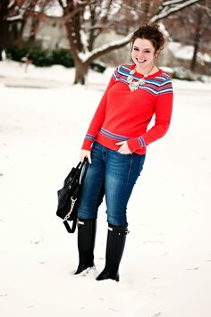 Statements Necklace, Fairisle Sweater, Jeans and Hunter Boots