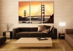 Golden Gate Bridge LARGE Canvas 3 Panels Print San Fransisco Wall Deco Fine Art Photography Repro Print for Home and Office Wall Decoration by ZellartCo TAGS golden gate bridge san francisco california usa cityscape skyline sunset bridge multi panel canvas triptych canvas print travel wall art
