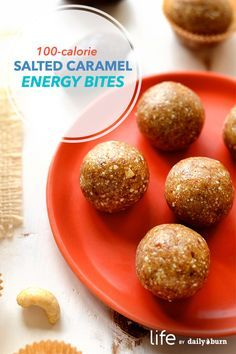 These easy salted caramel energy bites are just 100 calories a pop and taste just like Halloween candy. Get the recipe here. Healthy Bars, Healthy Snacks, Healthy Recipes, Protein Recipes, Protein Snacks, Healthy Breakfasts, Healthy Sweets, Free Recipes, Gourmet Recipes
