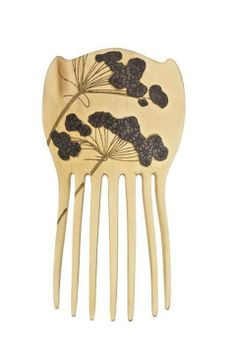 Comb with umbel flowers, René Lalique, France, c. 1897/1898. Blond horn, silver, red enamel on silver, and gold patina stems.