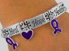 Bracelet Awareness PURPLE Ribbon Heart Lupus Alzheimer Pancreatic Cancer Jewelry