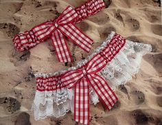 Red Gingham White Eyelet Lace Country Barn Outdoor Garden Wedding Garter Toss Set