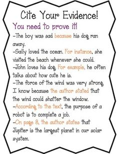 Citing Textual Evidence Worksheet Beautiful Cite Evidence Anchor Chart Worksheet by Amy S Third Persuasive Writing, Teaching Writing, Writing Skills, Essay Writing, Teaching Resources, 3rd Grade Writing, 5th Grade Reading, 5th Grade Ela, Third Grade