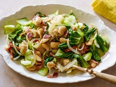 Baby Bok Choy with Bacon, Onion and Butter Beans recipe from Food Network Kitchen via Food Network