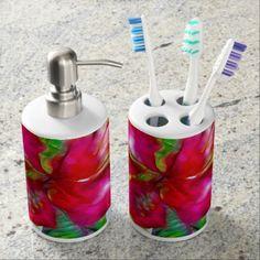 #Aloha Bright Electric Pop Tropical Floral Bath Set - #flower gifts floral flowers diy