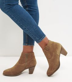 Tan Leather Western Block Heel Ankle Boots  | New Look