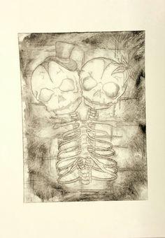 'Dead Gemini' Experimental prints 3 of 3 A4 Drypoint print