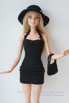 Little Known Ways to Make Doll Clothes Yourselves - Baby Doll Zone Crotchet dress for barbie Barbie Clothes Patterns, Crochet Barbie Clothes, Clothing Patterns, Dress Patterns, Crotchet Dress, Crochet Doll Dress, Moda Barbie, Barbie Dress, Barbie Doll