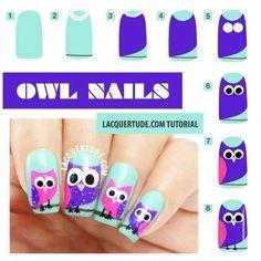 25 Cute Owl Nail Art Designs and Ideas Owl Nail Art, Owl Nails, Cute Nail Art, Cute Nails, Owl Art, Nagel Hacks, Manicure E Pedicure, Cute Nail Designs, Creative Nails