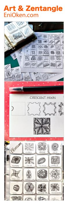 Learn how to organize and choose tangle patterns for your Zentangle®️ art • #eniokenbooks • enioken.com