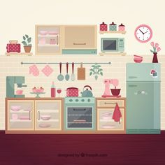 Makeup Vanity Hacks, Kitchen Clipart, Kitchen Drawing, Korean Art, Paper Houses, Flat Illustration, Doll Crafts, Retro, Cute Drawings