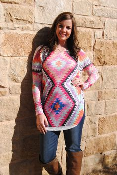 Shades of Color Aztec Tunic Top RESTOCKED