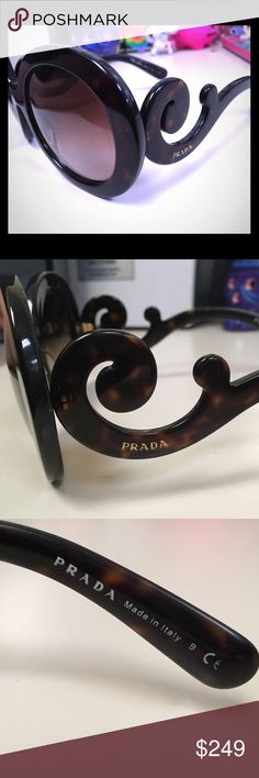 Prada Baroque Sunglasses Authentic sunglasses by Prada. They are in a used but decent condition. Do not have the case as it got lost during my move. Tortoise color (not black). Prada Accessories Sunglasses