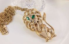 Lion Necklace Sitting Lion Emerald Eye Pendant Figural Whimsical Costume #Jewellery August Birthday Gift Leo Necklace Gold Chain Bib Necklace Present In excellent condition.... #vintage #jewellery #antique #louboutin #chanel #etsy #artdeco #weddings #bridal #hair #jewelry #necklaces #pendants #vintageforages ➡️ http://jto.li/HKmNK