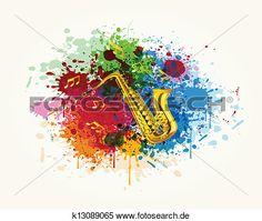 saxophon, in, dass, buntes, spritzen Große Clipart Grafik anschauen