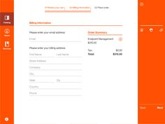 Another page from the same site in orange and white, where the main content is an example billing information form