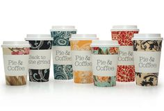 Pie and Coffee Cups - Cute patterns, sweet type
