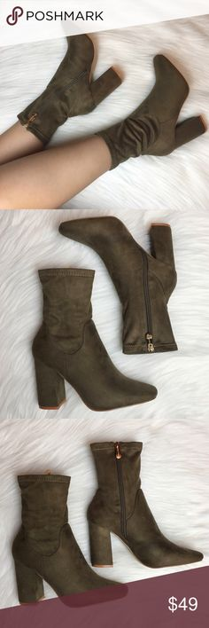 """Olive Faux Suede High Ankle Boots Jump on that sock boots trend with these super comfy and trendy olive faux suede booties. Stretches out to fit your leg shape. Has a thick heel style, almond toe and a side zipper closure. Fits true to size. Heel height is 3.80"""". Wear them with your favorite jeans, mini dress, midi dress, leggings, shorts or just about anything! Shoes Ankle Boots & Booties"""