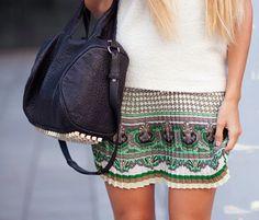 nice skirt & black bag