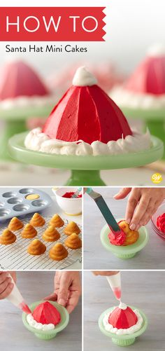 Give guests little individual treats with these Santa Hat Mini Cakes. Made using Rosanna Pansino& Swirl Pan, these mini cakes are great for beginners and also make fun and delicious editions to a holiday cookie or treat platter. Christmas Minis, Christmas Desserts, Christmas Treats, Christmas Cakes, Mini Cakes, Cupcake Cakes, Cupcakes, Cake Decorating Techniques, Cake Decorating Tips