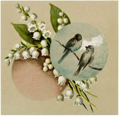 Vintage Birds with Lily of the Valley Image! - The Graphics Fairy