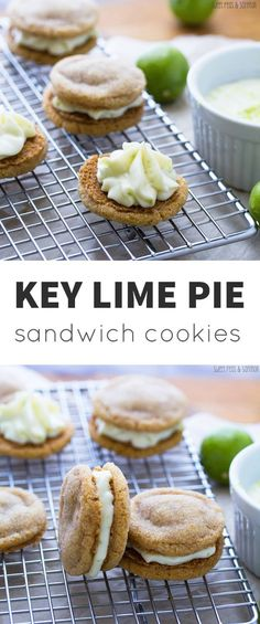 Key lime pie sandwich cookies are fast, easy and delicious. Key lime cream cheese filling is sandwiched between 2 graham cracker sugar cookies. Key Lime Desserts, Cookie Desserts, Just Desserts, Cookie Recipes, Dessert Recipes, Plated Desserts, Appetizer Recipes, Key Lime Pie, Lime Recipes