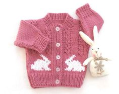 Baby cardigan with bunnies - 6 to 12 months - Baby girl knits - Baby shower gift - Bunny motif sweater - Baby knitwear
