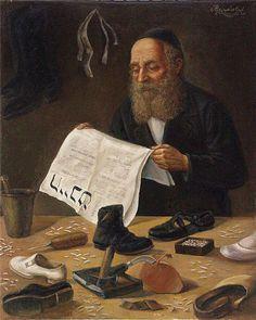 Sapateiro IV Victor Brindatch (Israel, contemporâneo) óleo sobre tela, 51 x 71 cm