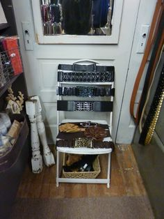 Belts on old chair. By Carol at The Arched Door.
