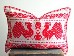Vintage embroidered pillow, peacock pillow, red and white embroidery, Hungarian folk art pillow, by coloursofvintage on Etsy