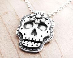 Day of the Dead necklace sugar skull Día de los Muertos jewelry calaveras pendant - Made to order.