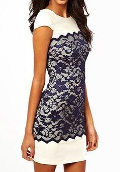 White Patchwork Lace Zipper Short Sleeve Dacron Dress