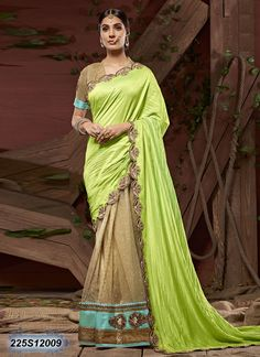 Designer Beige and Green Coloured Faux Silk Tafetta Embroidered Saree