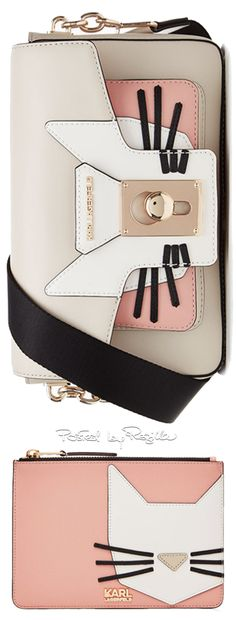 Karl Lagerfeld k/pin closure shoulderbag cat ($485) and Robot Choupette Pouch ($ 175). http://www.karl.com/us/handbag_cod45288302in.html#dept=krlrbt http://www.stylebop.com/product_details.php?id=670000
