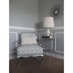 DIY Chevron Chair.  This is what my old velvet chair will look like.