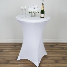 Brand new White Spandex Round Cocktail Table High-Top Highboy Fitted Tablecloths, designed for X-style base tables. Sparkles Make It Special Spandex Tablecloths deliver elastic stretch and a tight, wrinkle-free fit for your wedding, event, banqu Highboy Table, Princesa Tiana, Fitted Tablecloths, White Spandex, White Cocktails, Spandex Chair Covers, Tall Table, Winter Wonderland Wedding, Blush Roses