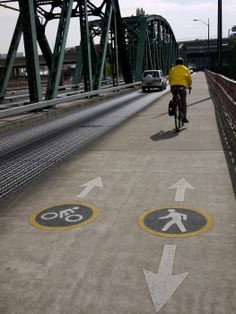 SHARE THE ROAD SIGNAGE: bikes and pedestrians on the Hawthorne Bridge in Portland. Bike Trails, Biking, Bike Rack, Bicycling, Hyde Park, Pedestrian, Physical Activities, Bridges, Bicycles