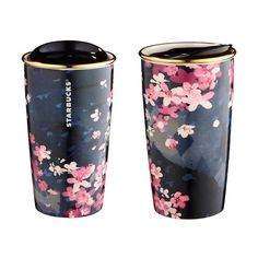 Starbucks 2016 Sakura Travel To-Go Dark Night Mug 12 oz mug / double wall Sold out already in stores Purchased directly in Starbucks, authentic Starbucks Tumbler, Starbucks Cup, Starbucks Taiwan, Copo Starbucks, Cute Water Bottles, Cute Cups, Coffee Love, Coffee Mug To Go, Mug Cup