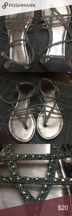 Pink/Silver rhinestone strap sandals Worn 2x - 7.5 but stretched out after wearing it twice.   Pretty only wear and tear is the stretching others caused from storage BAMBOO Shoes Sandals