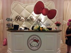 Hello Kitty Spa...I LOVE the backboard behind the desk! A smaller version would be an awesome headboard for a little girl's bed!!
