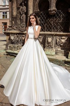 crystal design bridal 2016 sleeveless boat neckline modern simple embellished belt elegant a line wedding dress illusion back long train (valencia) mv #vestidodenovia | #trajesdenovio | vestidos de novia para gorditas | vestidos de novia cortos http://amzn.to/29aGZWo