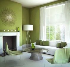 Brilliant Design Green Paint Colors For Living Room Green Dominance For Living Room Paint Ideas Green Furniture Living Room, Living Room Decor Green Walls, Retro Living Rooms, Paint Colors For Living Room, Green Rooms, Green Living Room Decor, New Living Room, Green Walls Living Room, Brown Living Room
